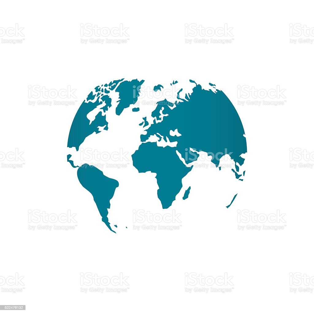 Blue world map globe vector illustration isolated on white vector art illustration