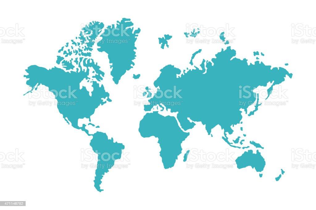 blue world map vector art illustration