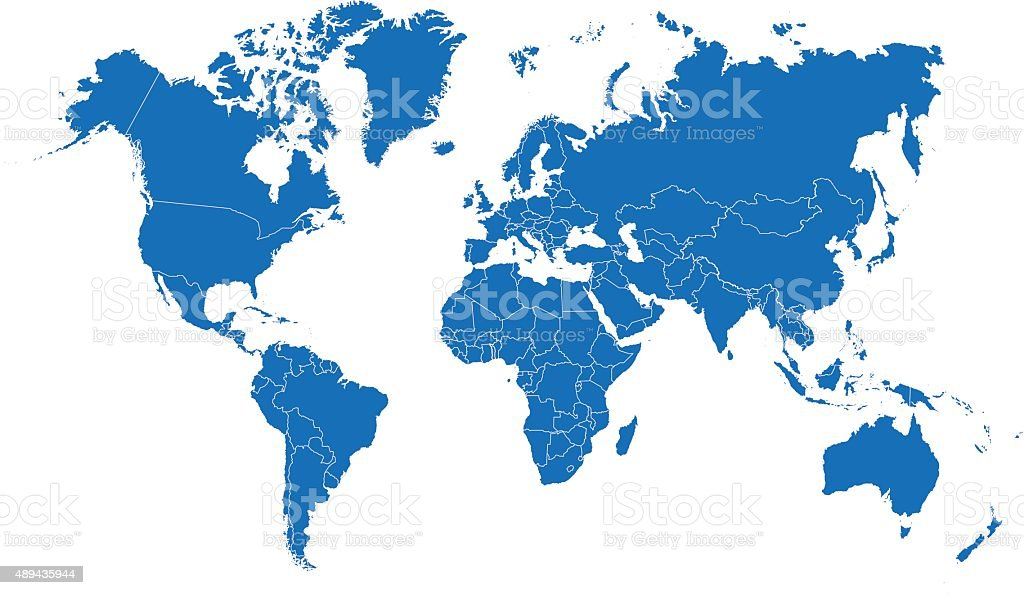 blue world map vector art illustration