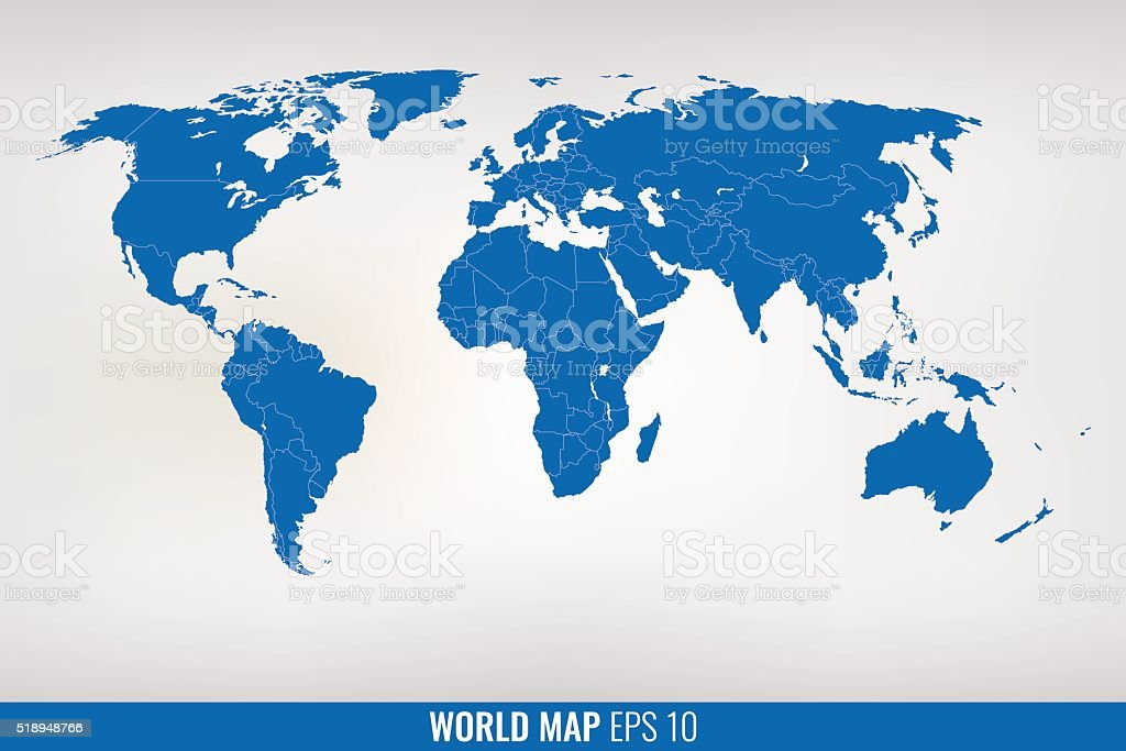 blue world map. vector vector art illustration