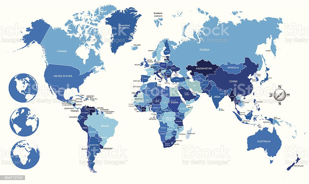 blue World Political Map with globes vector art illustration