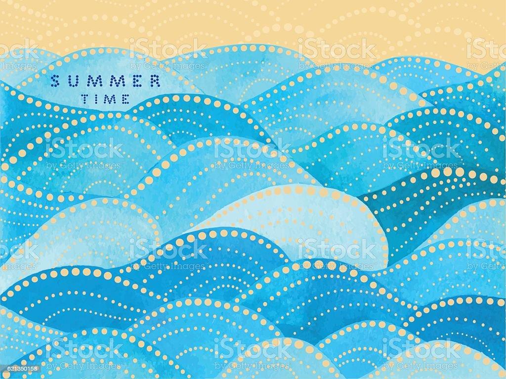 blue writing summertime on waves ornament vector art illustration