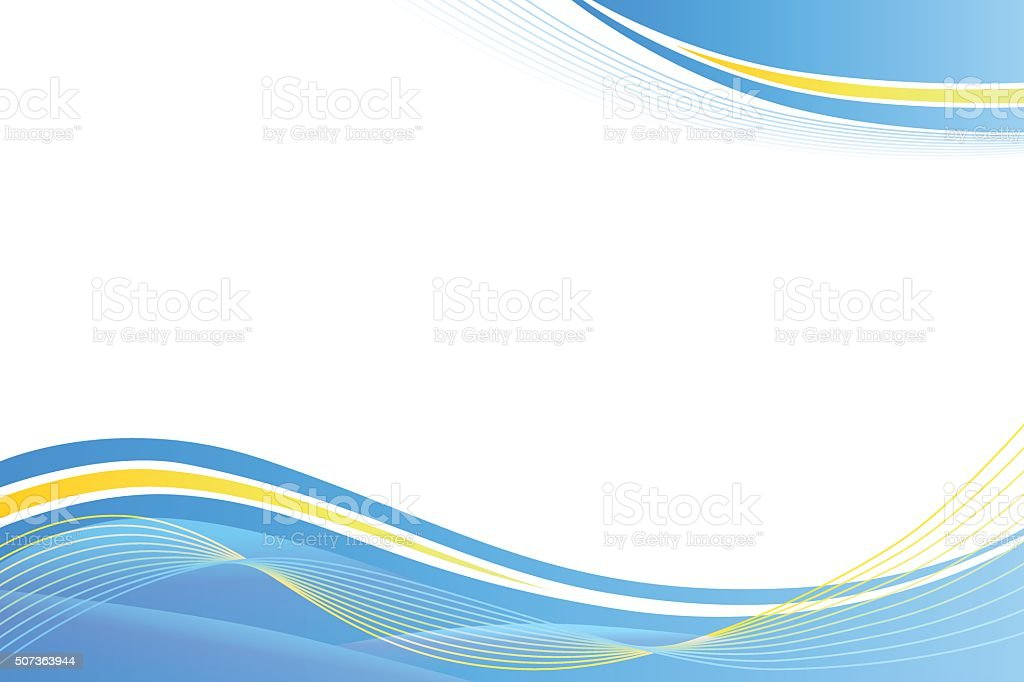 Blue yellow abstract background lines waves vector art illustration