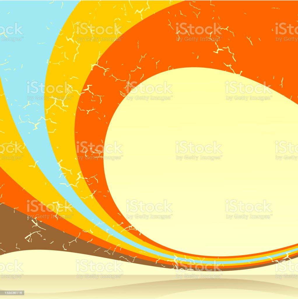 Blue yellow and orange retro swirl background vector art illustration