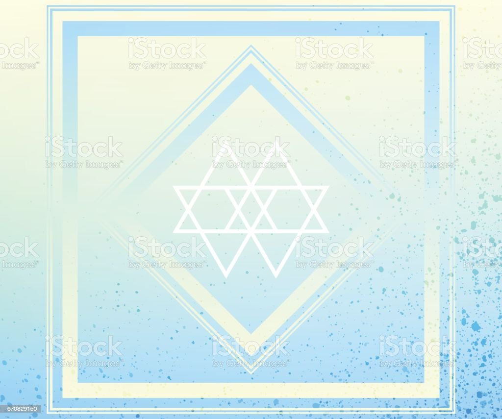 Blue Yellow Sacred Geometry Frame Textured Abstract Background vector art illustration
