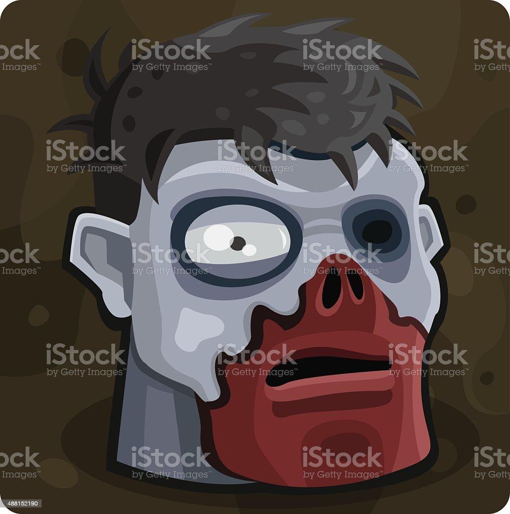 Голубой зомби голову векторная иллюстрация