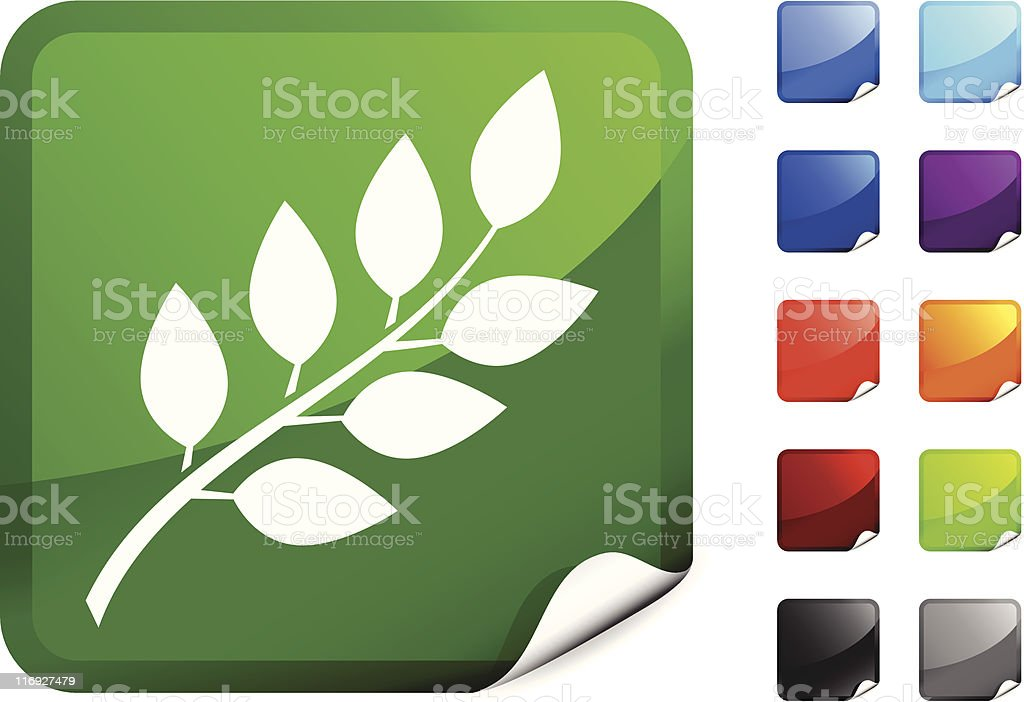 blueberry branch with leaves royalty free vector art sticker royalty-free stock vector art