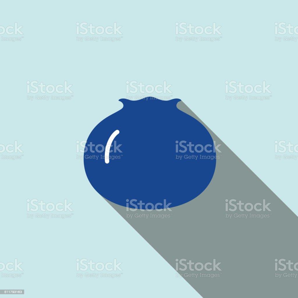 Blueberry fruit  flat icon series vector art illustration