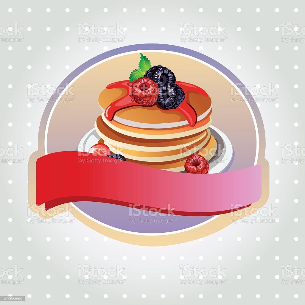 blueberry pancake label vector art illustration