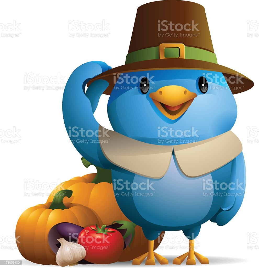 Bluebird: Happy Thanksgiving! royalty-free stock vector art