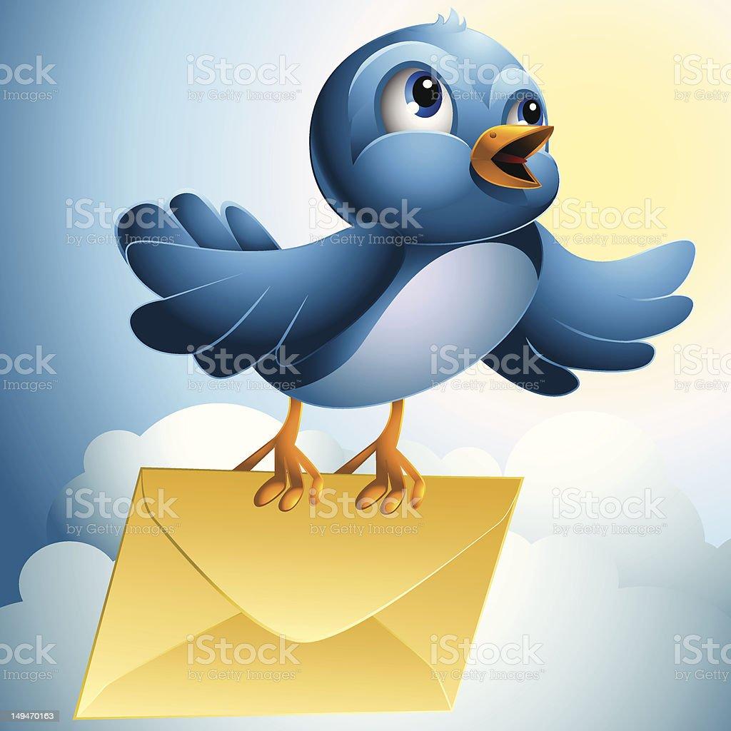 Bluebird: Message vector art illustration
