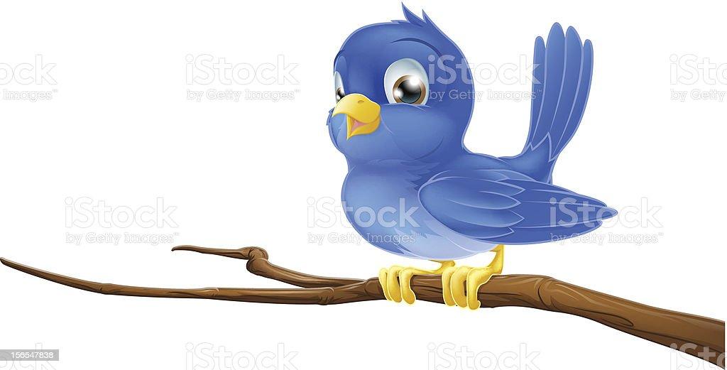 Bluebird on tree branch vector art illustration