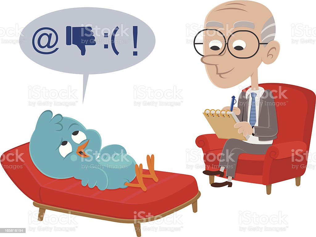 Bluebird visits psychiatrist vector art illustration