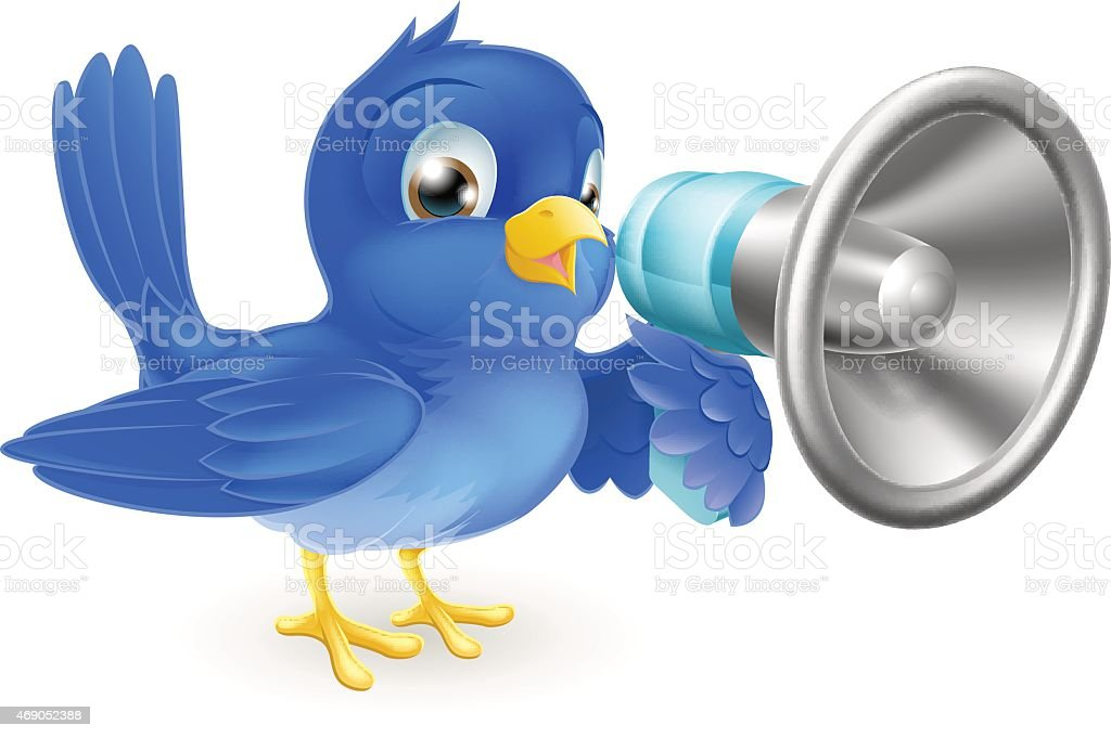 Bluebird with megaphone vector art illustration