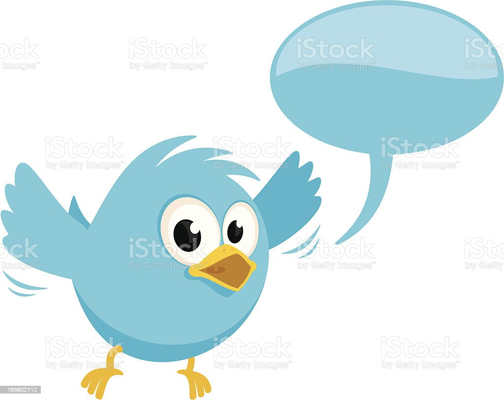 Bluebird With Speech Bubble vector art illustration