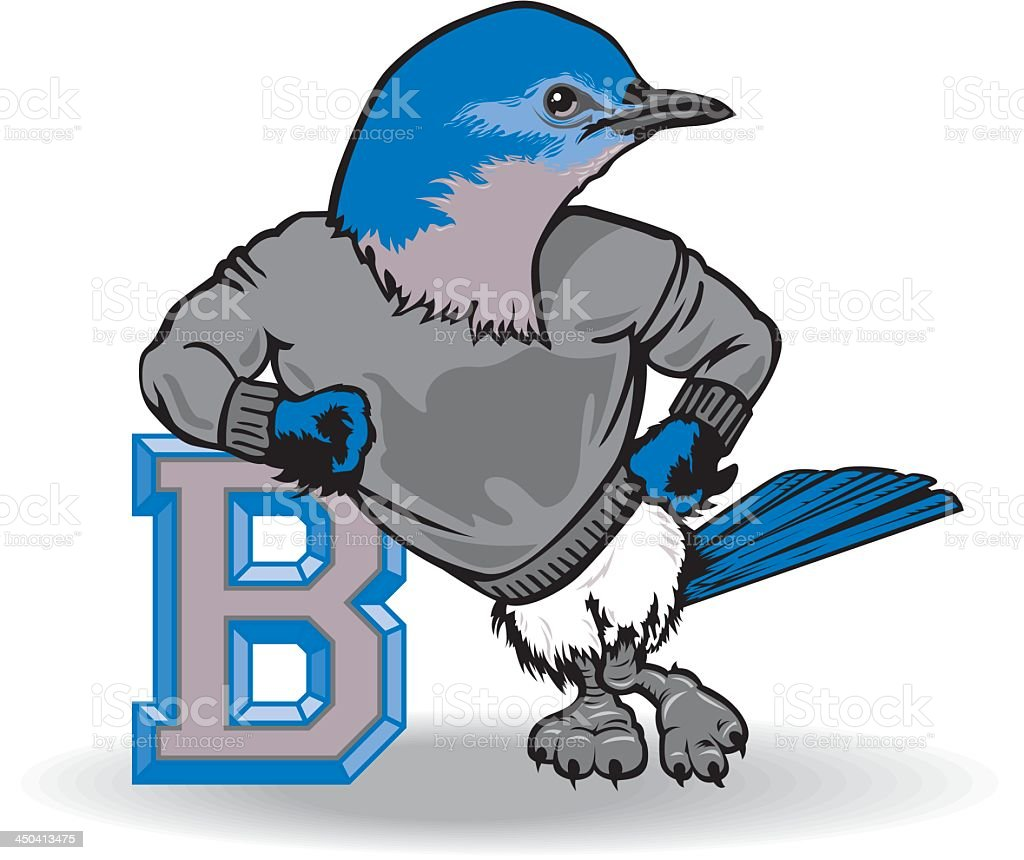 Bluebird with the Letter B royalty-free stock vector art