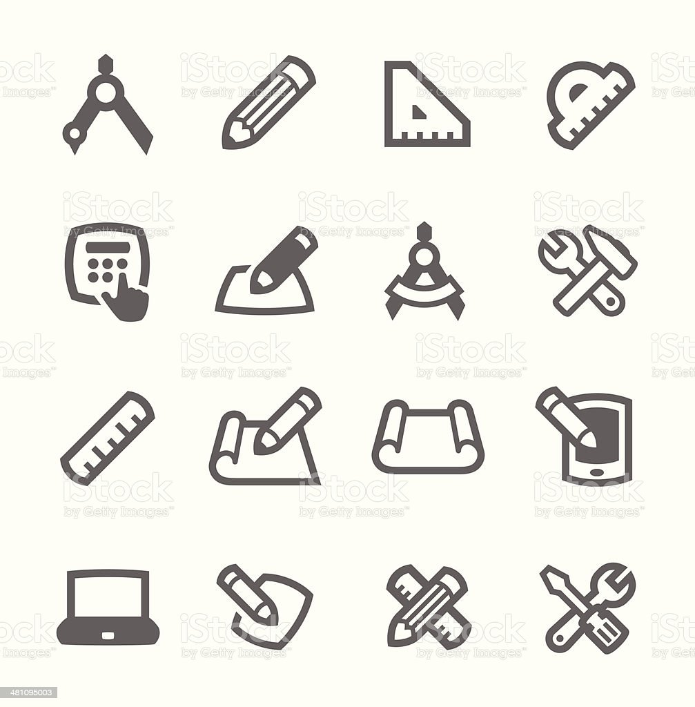 Blueprint and design icons vector art illustration