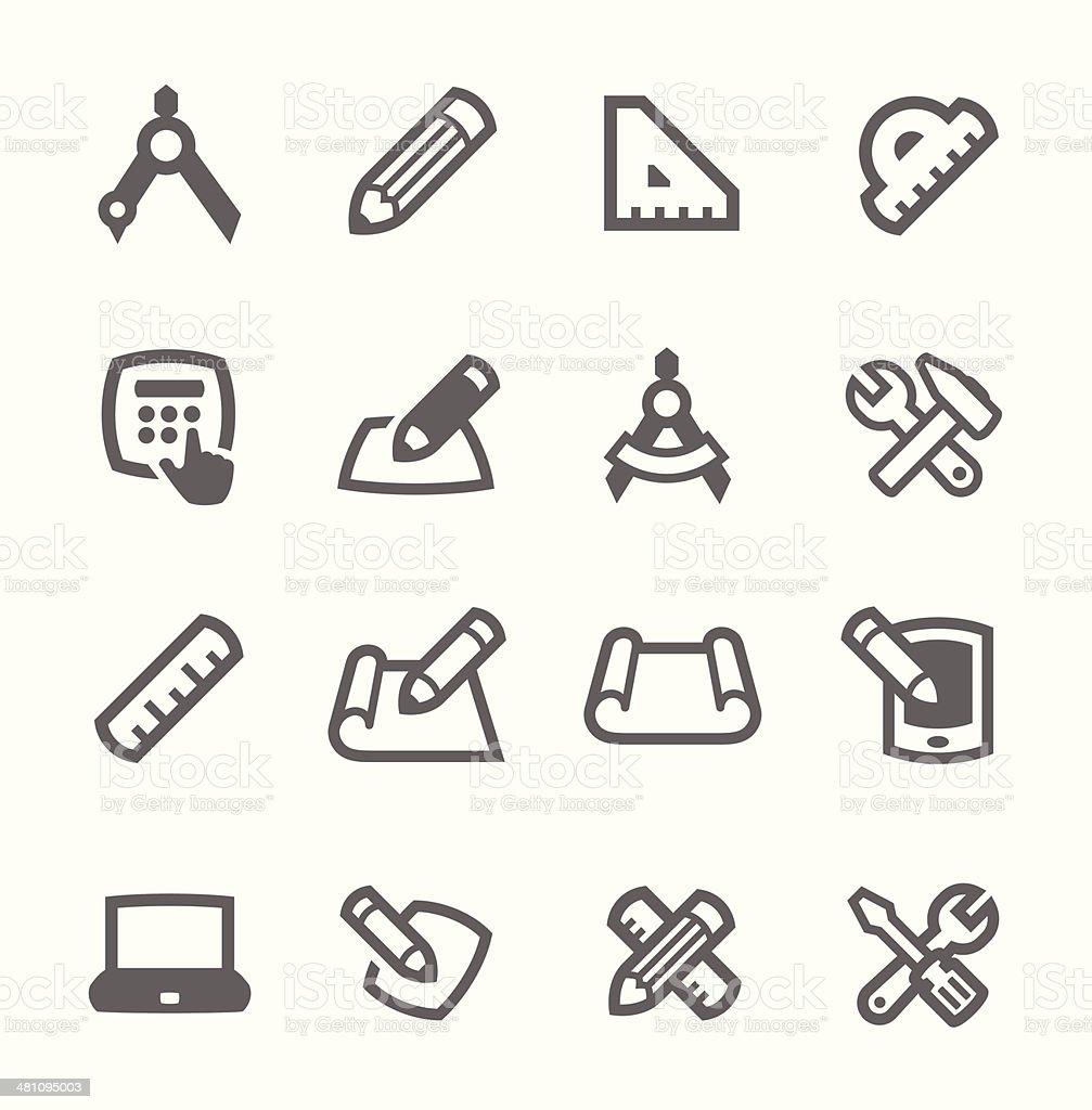 Blueprint and design icons vector art illustration