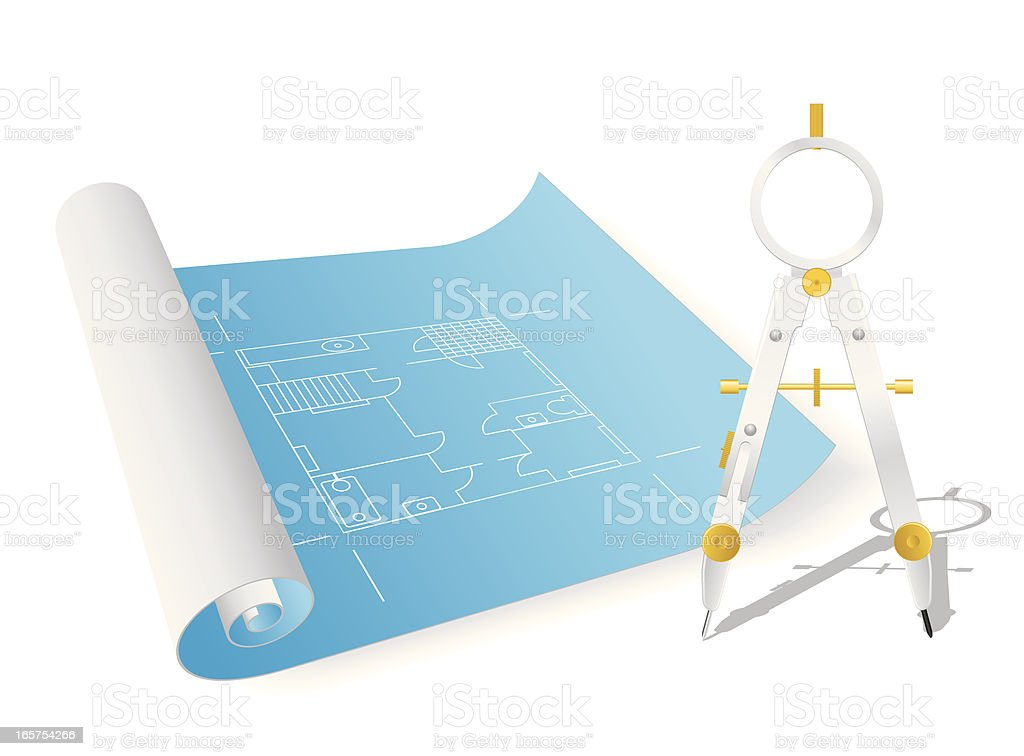 Blueprint and Drawing Compass vector art illustration