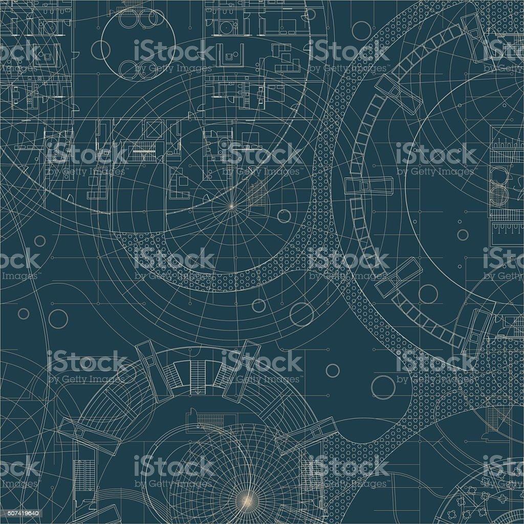 Blueprint. Architectural plan. vector art illustration