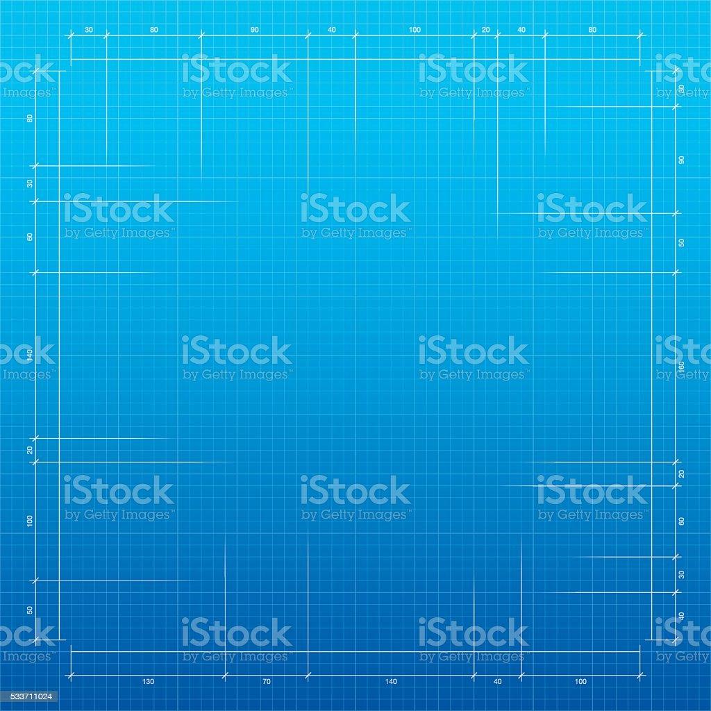 Blueprint background - Graph paper vector art illustration