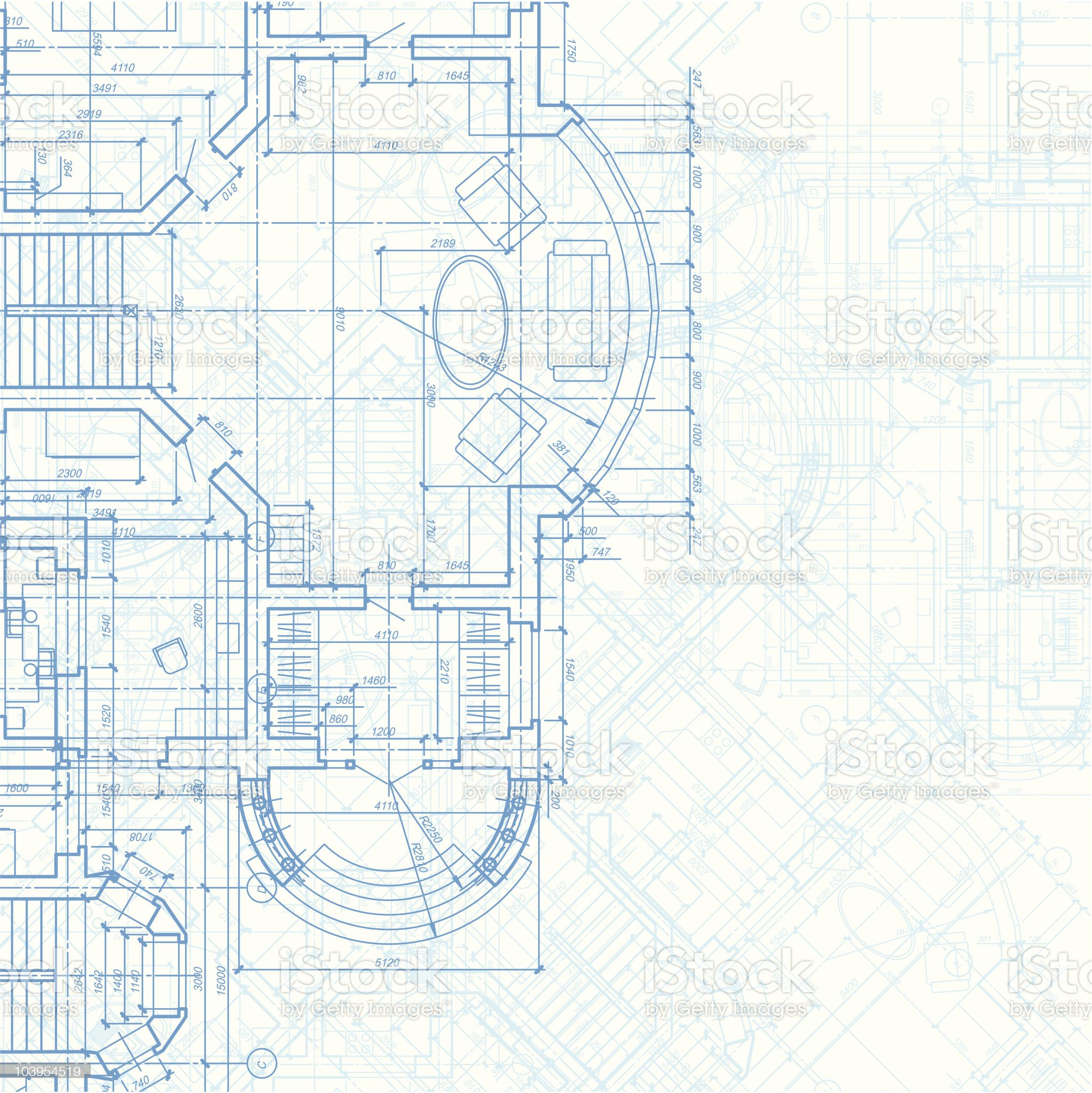 A blueprint background of an architectural plan royalty-free stock vector art