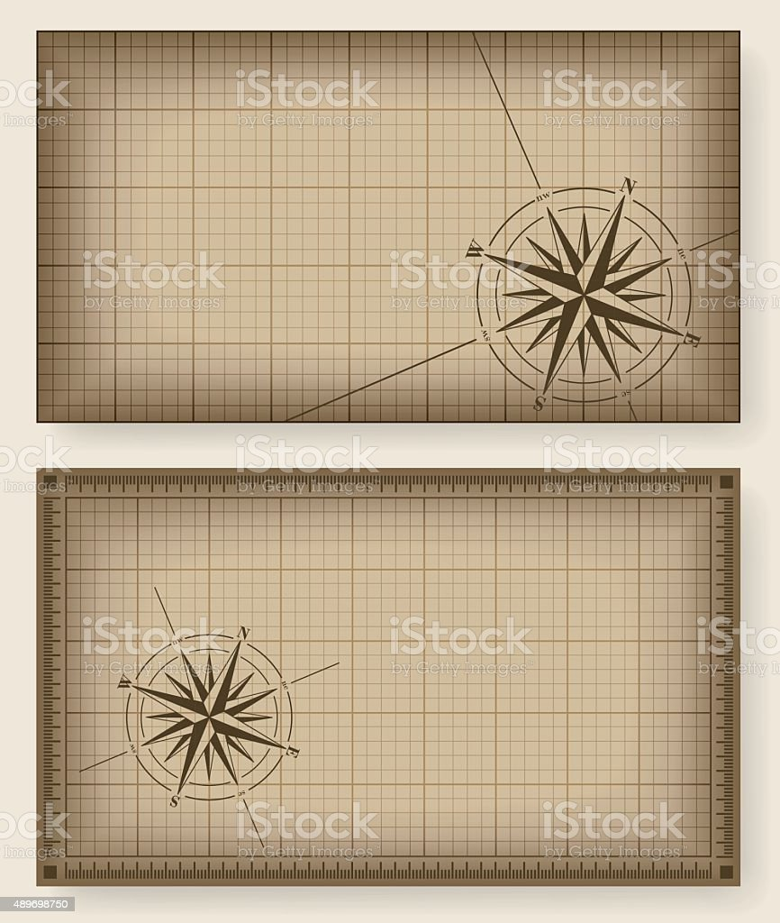 Blueprint backgrounds with compass rose. vector art illustration