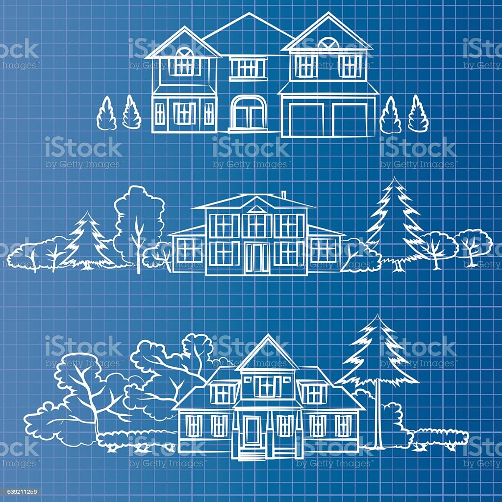 blueprint cottage vector art illustration