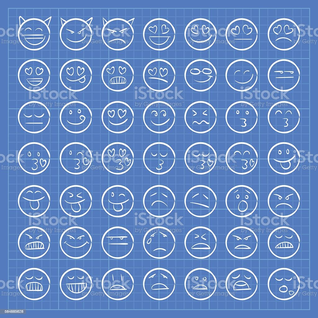Blueprint emoji icons set 2 vector art illustration