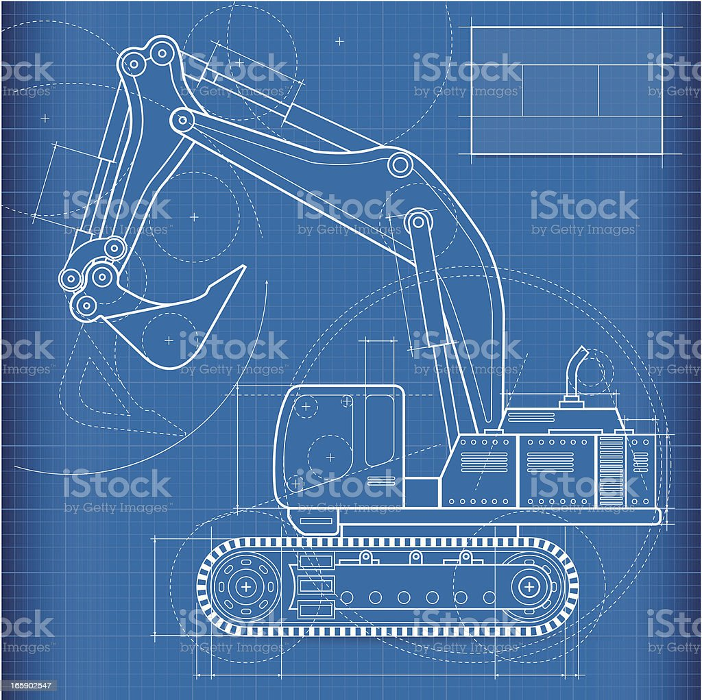 Blueprint, excavator vector art illustration