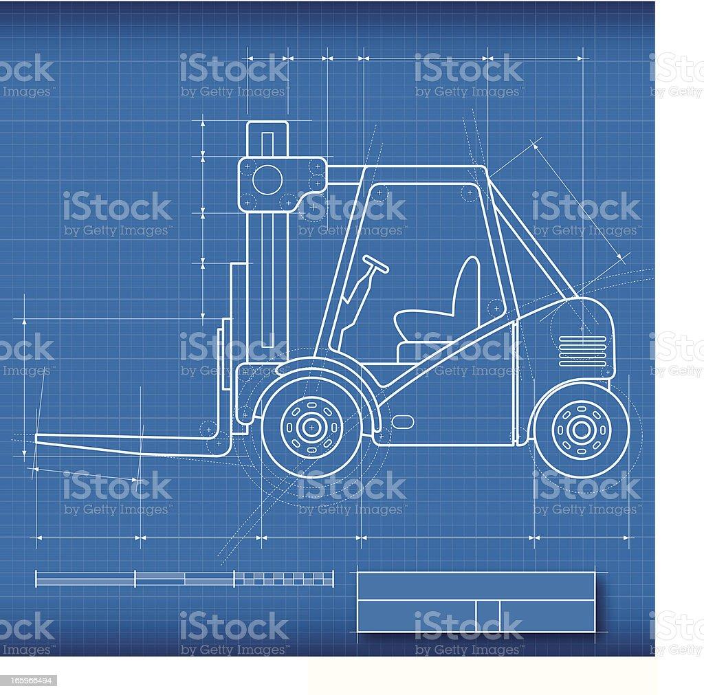 Blueprint Forklift vector art illustration