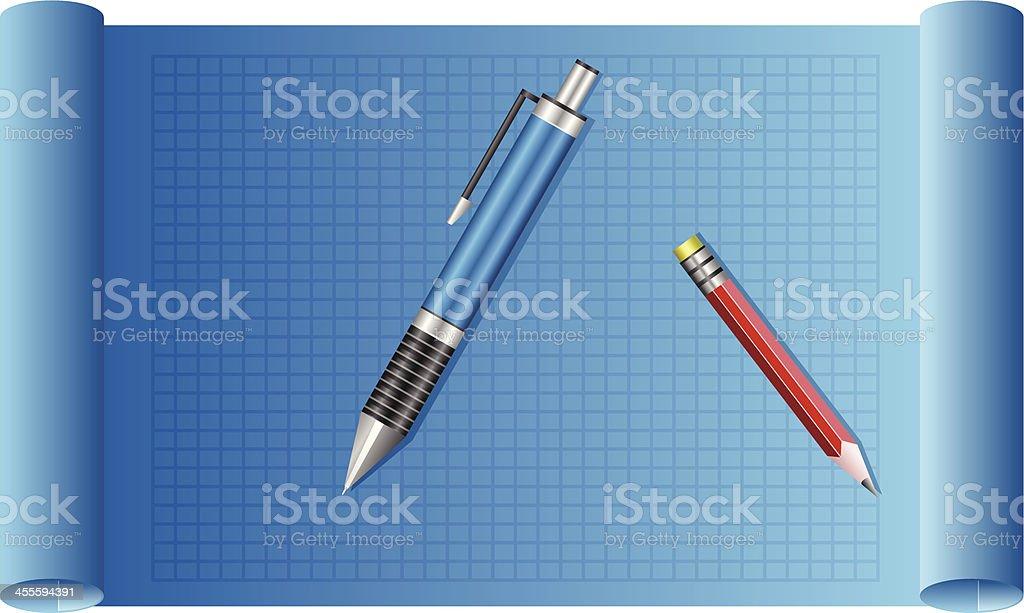 Blueprint Graph Paper royalty-free stock vector art