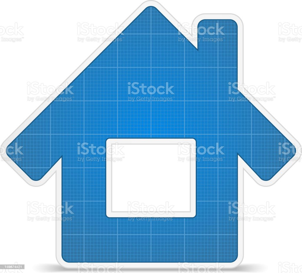 Blueprint House Icon royalty-free stock vector art