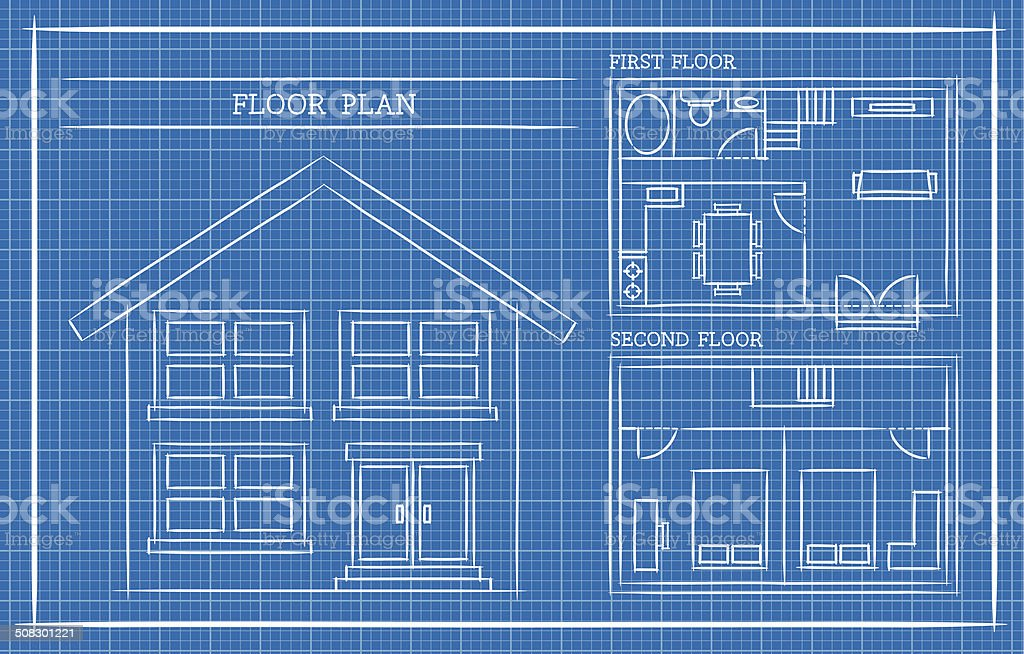 Blueprint, House Plan, Architecture vector art illustration
