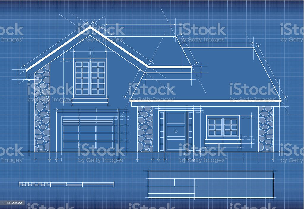 Blueprint, house vector art illustration