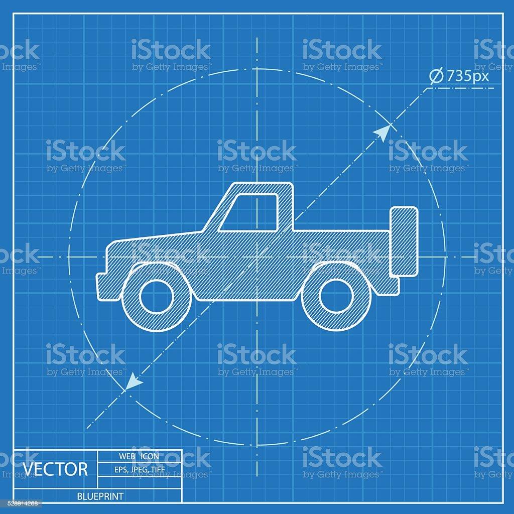 blueprint icon of pickup vector art illustration