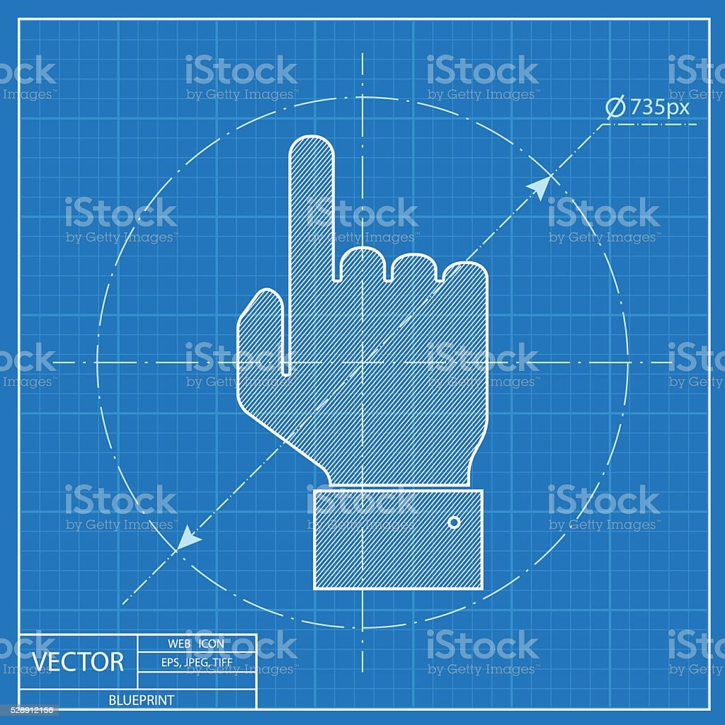 blueprint icon of pointing hand vector art illustration