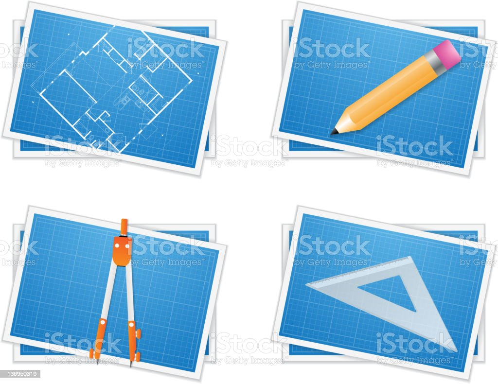 Blueprint icons stock photo