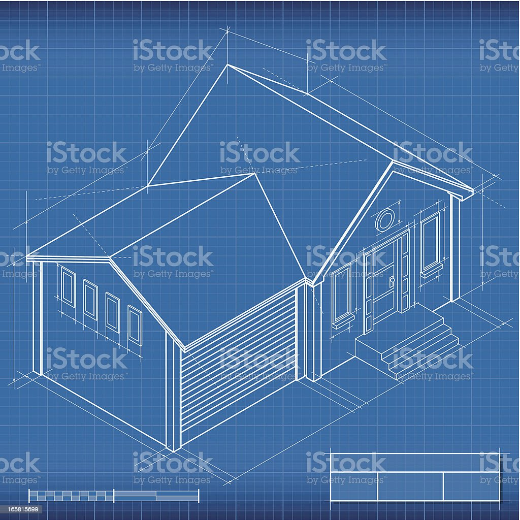 Blueprint, isometric house royalty-free stock vector art