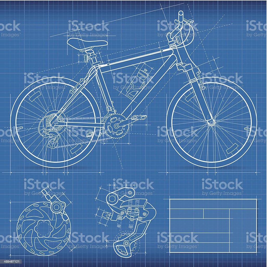 Blueprint, Mountain Bike vector art illustration