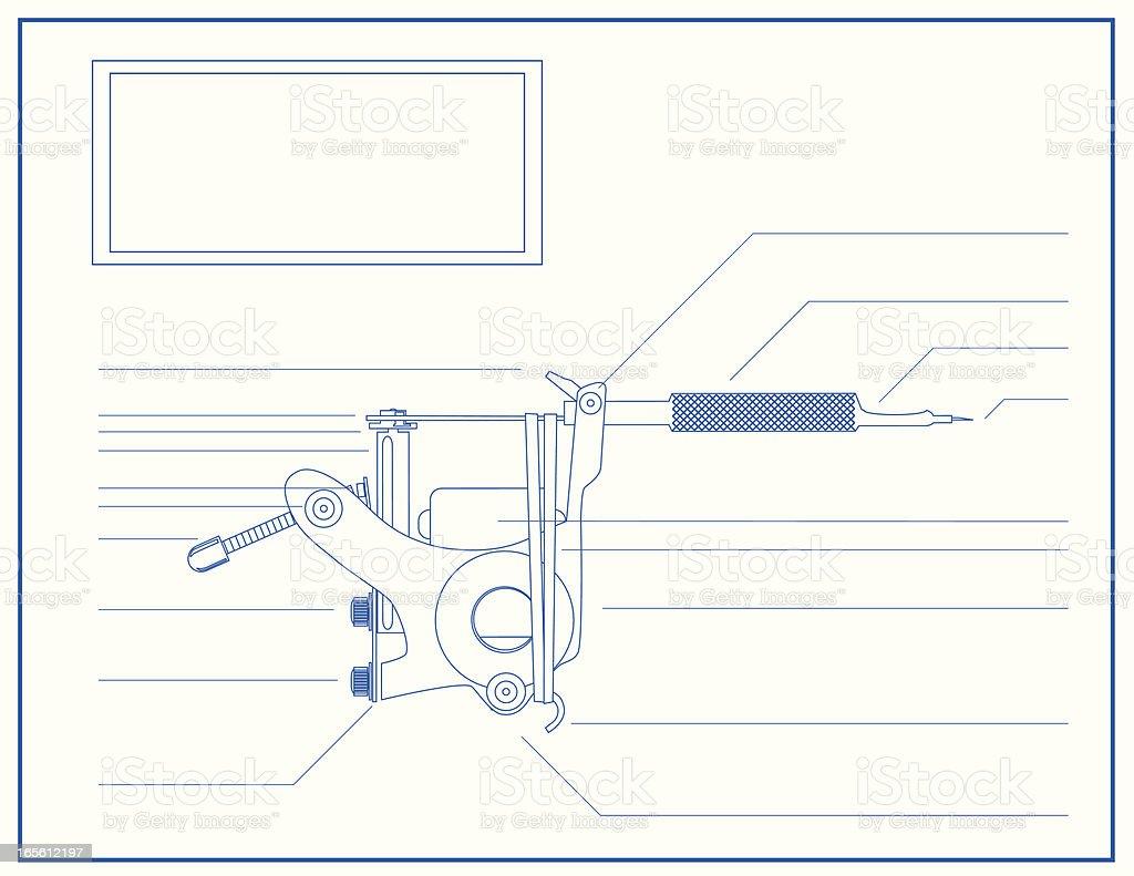 Blueprint of a Tattoo Machine royalty-free stock vector art