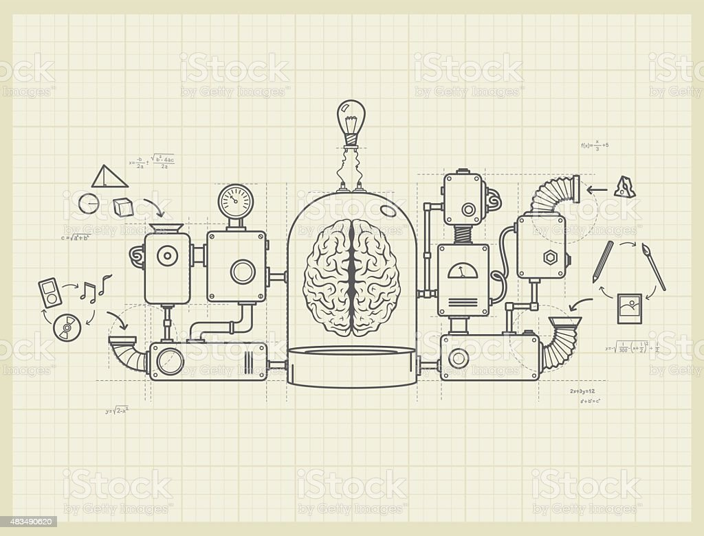 Blueprint of an idea machine project vector art illustration