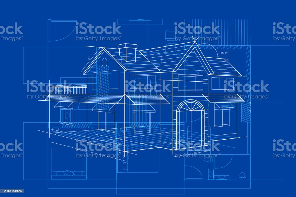 Blueprint of Building vector art illustration