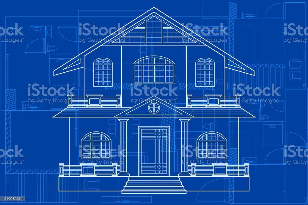 Blueprint of Building vector art illustration