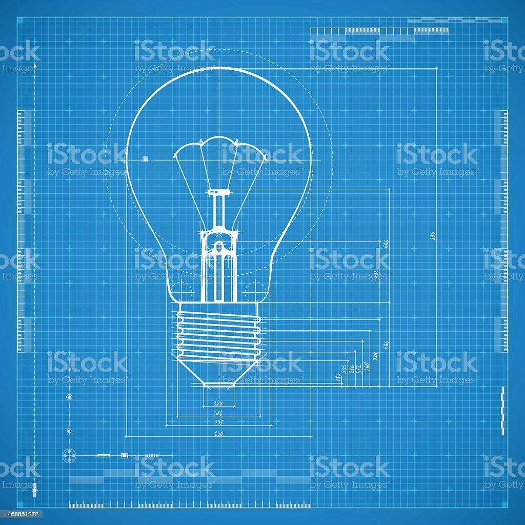 Blueprint of bulb lamp vector art illustration