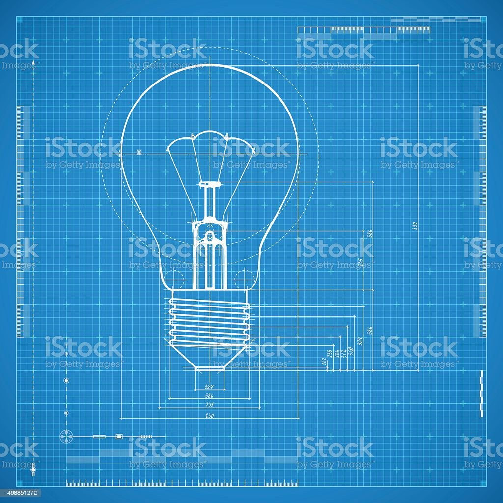 Blueprint of bulb lamp vector art illustration