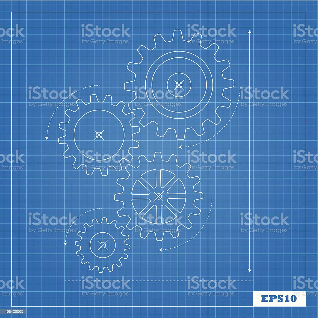 Blueprint of Cogs vector art illustration