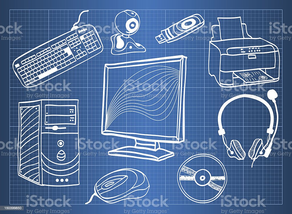 Blueprint of computer hardware - peripheral devices royalty-free stock vector art