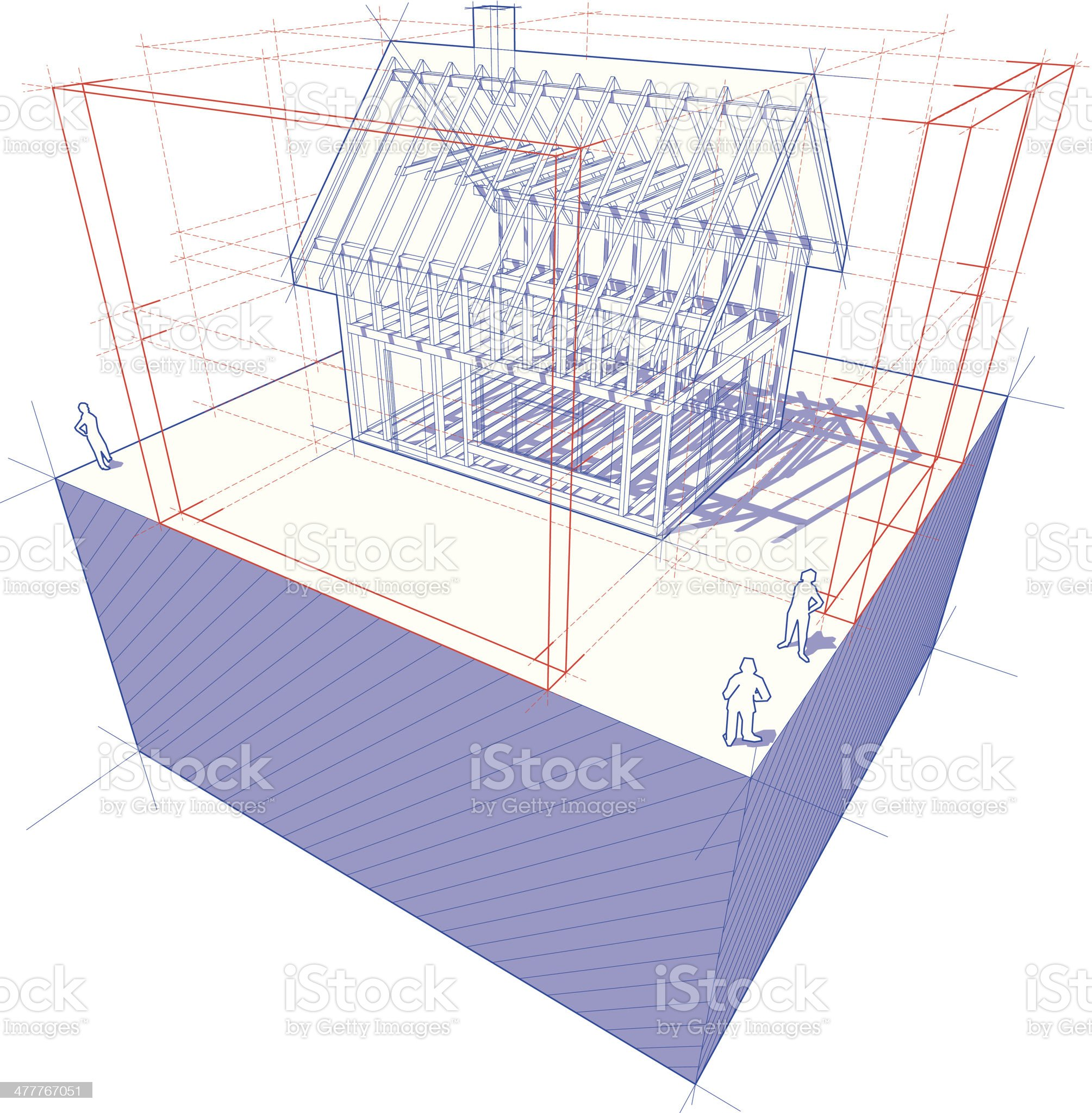 Blueprint of framework house with dimensions diagram royalty-free stock vector art