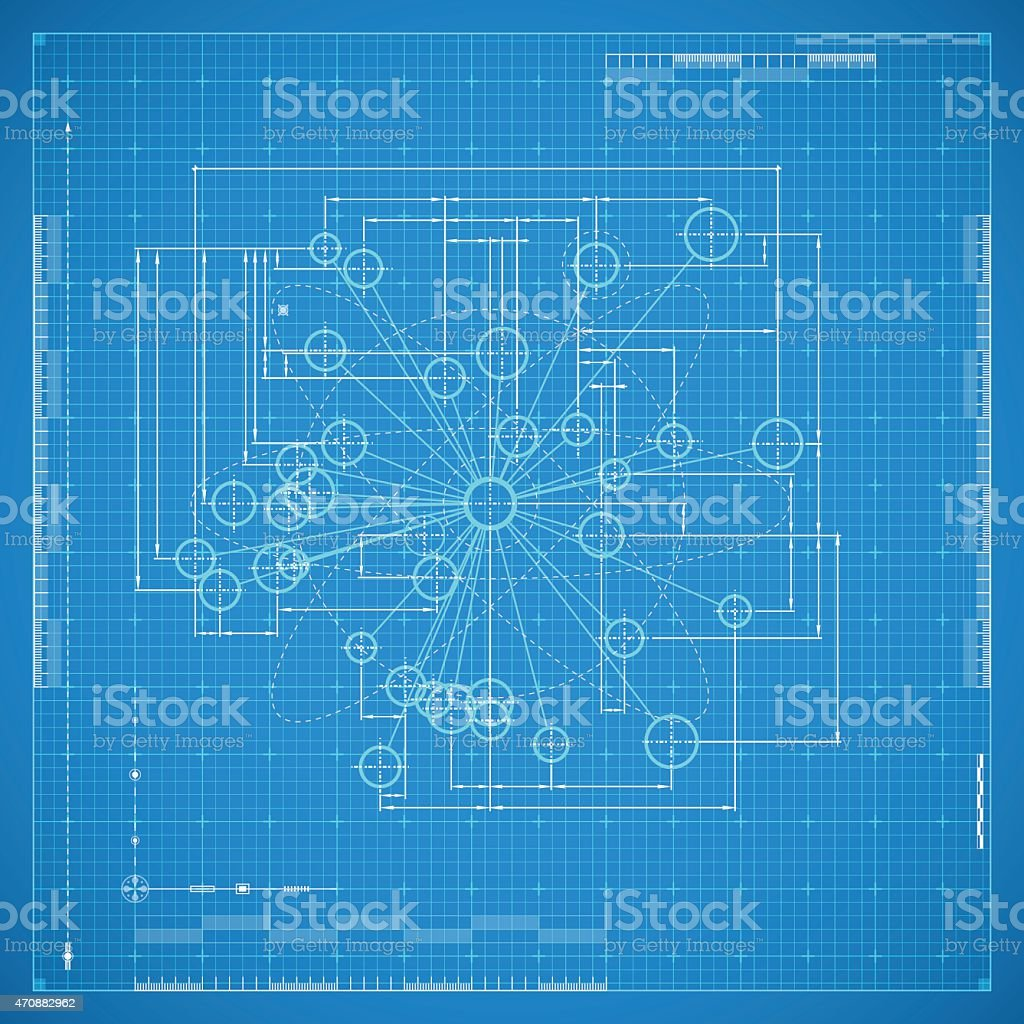 Blueprint of molecule vector art illustration